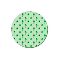 Palm Tree Coconoute Green Sea Rubber Round Coaster (4 pack)