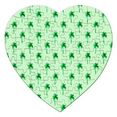 Palm Tree Coconoute Green Sea Jigsaw Puzzle (Heart)