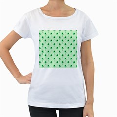 Palm Tree Coconoute Green Sea Women s Loose-Fit T-Shirt (White)