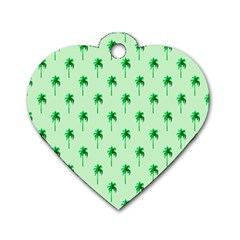 Palm Tree Coconoute Green Sea Dog Tag Heart (Two Sides)