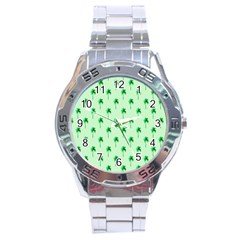 Palm Tree Coconoute Green Sea Stainless Steel Analogue Watch