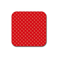Paw Print Background Wallpaper Cute Paw Print Background Footprint Red Animals Rubber Coaster (Square)