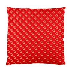 Paw Print Background Wallpaper Cute Paw Print Background Footprint Red Animals Standard Cushion Case (Two Sides)