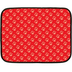 Paw Print Background Wallpaper Cute Paw Print Background Footprint Red Animals Double Sided Fleece Blanket (Mini)