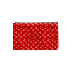 Paw Print Background Wallpaper Cute Paw Print Background Footprint Red Animals Cosmetic Bag (Small)