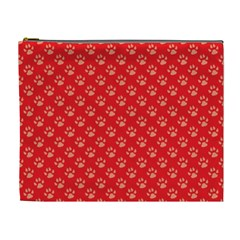 Paw Print Background Wallpaper Cute Paw Print Background Footprint Red Animals Cosmetic Bag (XL)