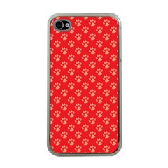 Paw Print Background Wallpaper Cute Paw Print Background Footprint Red Animals Apple iPhone 4 Case (Clear)