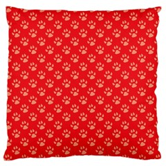 Paw Print Background Wallpaper Cute Paw Print Background Footprint Red Animals Large Cushion Case (Two Sides)