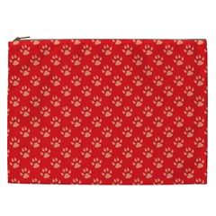 Paw Print Background Wallpaper Cute Paw Print Background Footprint Red Animals Cosmetic Bag (XXL)