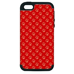 Paw Print Background Wallpaper Cute Paw Print Background Footprint Red Animals Apple iPhone 5 Hardshell Case (PC+Silicone)