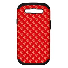 Paw Print Background Wallpaper Cute Paw Print Background Footprint Red Animals Samsung Galaxy S III Hardshell Case (PC+Silicone)