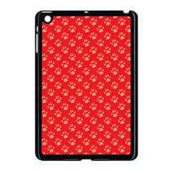 Paw Print Background Wallpaper Cute Paw Print Background Footprint Red Animals Apple iPad Mini Case (Black)