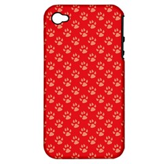 Paw Print Background Wallpaper Cute Paw Print Background Footprint Red Animals Apple iPhone 4/4S Hardshell Case (PC+Silicone)