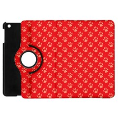 Paw Print Background Wallpaper Cute Paw Print Background Footprint Red Animals Apple iPad Mini Flip 360 Case