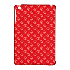 Paw Print Background Wallpaper Cute Paw Print Background Footprint Red Animals Apple iPad Mini Hardshell Case (Compatible with Smart Cover)
