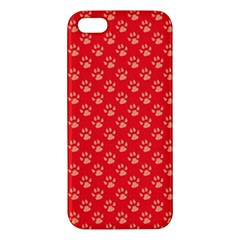 Paw Print Background Wallpaper Cute Paw Print Background Footprint Red Animals iPhone 5S/ SE Premium Hardshell Case