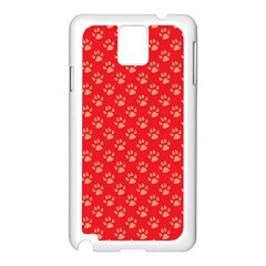 Paw Print Background Wallpaper Cute Paw Print Background Footprint Red Animals Samsung Galaxy Note 3 N9005 Case (White)