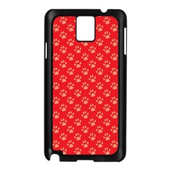 Paw Print Background Wallpaper Cute Paw Print Background Footprint Red Animals Samsung Galaxy Note 3 N9005 Case (Black)