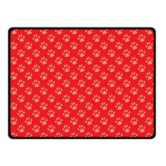Paw Print Background Wallpaper Cute Paw Print Background Footprint Red Animals Double Sided Fleece Blanket (Small)