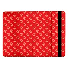 Paw Print Background Wallpaper Cute Paw Print Background Footprint Red Animals Samsung Galaxy Tab Pro 12.2  Flip Case