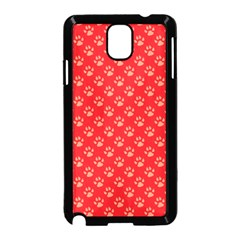 Paw Print Background Wallpaper Cute Paw Print Background Footprint Red Animals Samsung Galaxy Note 3 Neo Hardshell Case (Black)