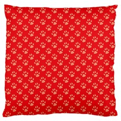 Paw Print Background Wallpaper Cute Paw Print Background Footprint Red Animals Large Flano Cushion Case (One Side)