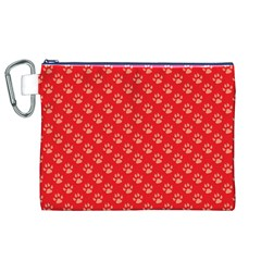 Paw Print Background Wallpaper Cute Paw Print Background Footprint Red Animals Canvas Cosmetic Bag (XL)