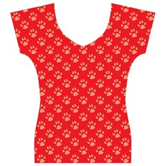 Paw Print Background Wallpaper Cute Paw Print Background Footprint Red Animals Women s V-Neck Cap Sleeve Top