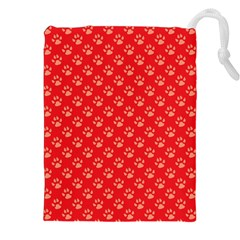 Paw Print Background Wallpaper Cute Paw Print Background Footprint Red Animals Drawstring Pouches (XXL)