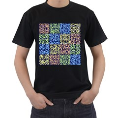 Puzzle Color Men s T-Shirt (Black) (Two Sided)