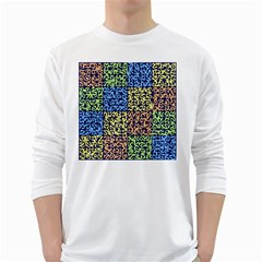 Puzzle Color White Long Sleeve T-Shirts
