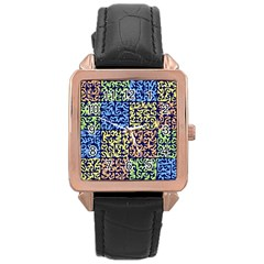 Puzzle Color Rose Gold Leather Watch