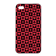 Queen Hearts Card King Apple iPhone 4/4s Seamless Case (Black)