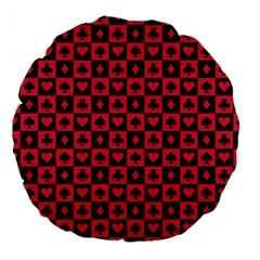 Queen Hearts Card King Large 18  Premium Round Cushions