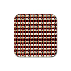 Queen Of Hearts  Hat Pattern King Rubber Square Coaster (4 pack)