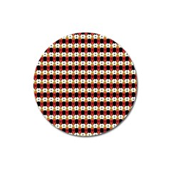 Queen Of Hearts  Hat Pattern King Magnet 3  (Round)