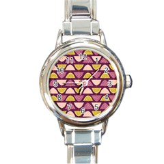 Retro Fruit Slice Lime Wave Chevron Yellow Purple Round Italian Charm Watch