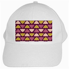 Retro Fruit Slice Lime Wave Chevron Yellow Purple White Cap