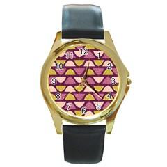 Retro Fruit Slice Lime Wave Chevron Yellow Purple Round Gold Metal Watch
