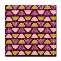 Retro Fruit Slice Lime Wave Chevron Yellow Purple Face Towel