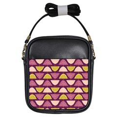 Retro Fruit Slice Lime Wave Chevron Yellow Purple Girls Sling Bags