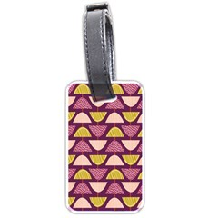 Retro Fruit Slice Lime Wave Chevron Yellow Purple Luggage Tags (Two Sides)