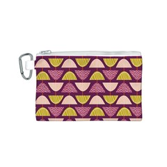 Retro Fruit Slice Lime Wave Chevron Yellow Purple Canvas Cosmetic Bag (S)