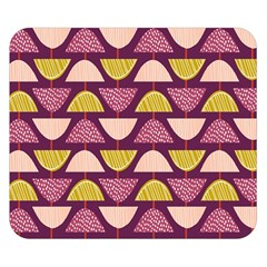 Retro Fruit Slice Lime Wave Chevron Yellow Purple Double Sided Flano Blanket (Small)