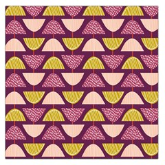 Retro Fruit Slice Lime Wave Chevron Yellow Purple Large Satin Scarf (Square)