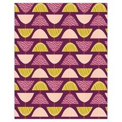 Retro Fruit Slice Lime Wave Chevron Yellow Purple Drawstring Bag (Small)
