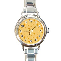 Seamless Cheese Pattern Round Italian Charm Watch