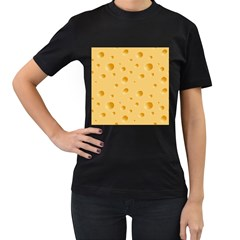 Seamless Cheese Pattern Women s T-Shirt (Black) (Two Sided)