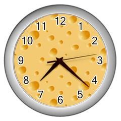 Seamless Cheese Pattern Wall Clocks (Silver)