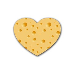 Seamless Cheese Pattern Rubber Coaster (Heart)